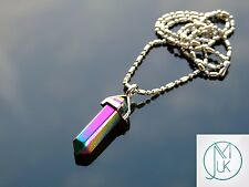 Plated Pyrite Crystal Point Pendant Natural Gemstone Necklace Healing Stone