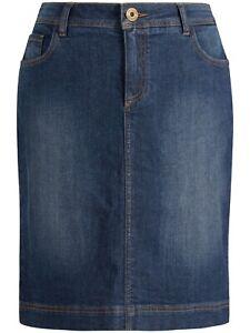 Seasalt St Endellion Denim Pencil Skirt Size UK 8 Midnight Wash Stretchy