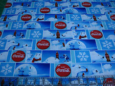 3 Yards Cotton Fabric- Sykel Coca Cola Coke Polar Bear Holiday Winter Patch