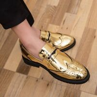 38-48 MENS PATENT LEATHER BROGUE SHOES WING TIP CASUAL SHOES FASHION OXFORDS NEW