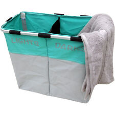 Lights & Darks Laundry Hamper Folding Twin Sorter Large Bin Bag Washing Basket