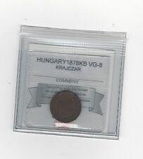 **1878KB** Hungary, Krajczar,  Coin Mart Graded**VG-8**