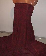 1 m Fein Single Jersey dunkelrot, Jacquard Muster mit Ornamenten