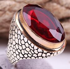 Turkish Jewelry Ruby Red Big Stone 925 Sterling Silver Men Ring Select Size USA