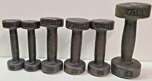 Vintage YORK Lot of Hand Weights Dumbells Iron, 1 lb X 2, 2 lb X 3, 4 lb X 1