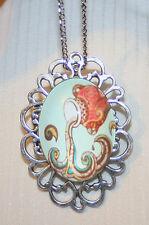 Handsome Open Silvertne Aquarius Water Bearer Flowing Cameo Pendant Necklace Pin