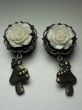 Pair Of ROSE DANGLE MUSHROOM ALICE GAUGES PLUGS Choice of 9 Colors