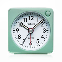 Ultra Small Peakeep Battery Travel Alarm Clock with Snooze and Light Silent No