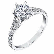 Certified Moissanite Diamond Engagement Ring 1.50 Ct Round Cut 14K White Gold