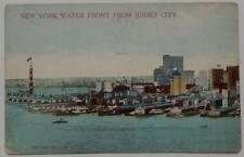 Vintage 1911 Postcard New York Water Front From Jersey City Docks Boats