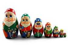 Matryoshka Russian Nesting Doll Dwarfs Gnomes Matrioska Babushka Wooden Set 7 Pc