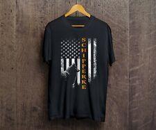 Vintage Usa Schipperke Dog Silhouette American Flag Dog Lover T-Shirt