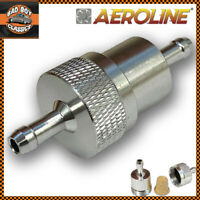 """Aeroline Alloy Fuel Petrol Diesel Inline Filter 1/4"""" 6mm For MOTORCYCLE SCOOTER"""