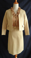 Vtg 60s Designer Secretary Dress Ruffled Suit Jacket Mod Retro Cloth 2 Piece Set