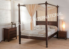 Handmade Wooden Poster Double Bed ( Rajasthani style - Indian King size)