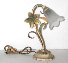 Abat jour lámpara mesilla de noche de hierro decoro florentino con vidrio blanco
