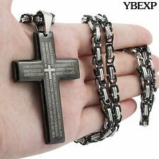24'' Men Stainless Steel Black Cross Pendant 5mm Byzantine Box Necklace Chain