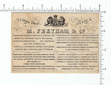 3839 M. Feetham Co c. 1870 stove maker trade card 4 foreign languages London
