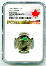 2011 CANADA 25 CENT NGC GEM UNCIRCULATED WOOD BISON COLORIZED QUARTER RARE