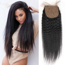 Kinky Straight /Yaki Brazilian Remy Human Hair Silk Base Closure Bleach Knots