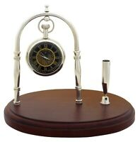 Desk Clock & Pen Holder Maritime Brass With Wooden Home Decor Nautical