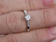 14K Real White Gold Wedding Rings 0.56 Ct VVS1/D Diamond Engagement Ring Size P
