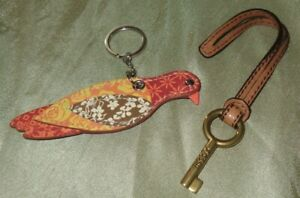 Fossil Brown Leather Replacement Key Fob Charm & Floral Bird Keychain Ring Red