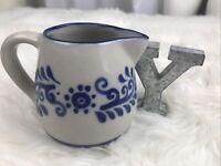 CAIREM POTTERY / STONEWARE SALT GLAZED CREAMER DISH BLUE & GREY