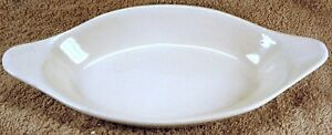 """VINTAGE RPC CO. ROSEVILLE OHIO POTTERY Two (2) 10"""" Serving Bowls Oval w/ Handles"""