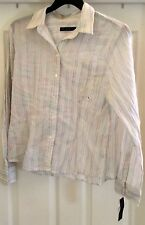 The Limited white multi color striped long sleeve shirt size Large NWT!!!