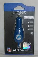 NFL Detroit Lions Car Charger 4ft Coiled Cord 30 pin iPhone iPod