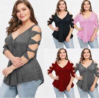 Summer Women Low Cut T-shirt Casual Blouse Tops Tunic Tee New Plus Size XL-5XL