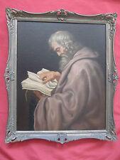 """Superbe huile sur toile du 19  è siècle ' portrait de moine lisant """""""