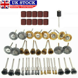 47PC Rotary Steel Wire Brass Brush Drill Polishing Cup Wheel Set Tool for Dremel