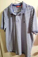 Izod Mens Blue White Striped Golf Shirt Cotton Polo Shirt Size XL