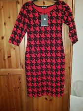 Ladies Red & Black Houndstooth Bodycon Dress size 10