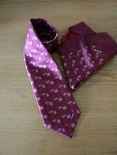 NUOVO: Zilli Vino/Blush Geo con motivo pieghevole a 7 Seta Cravatta & Fazzoletto da taschino Set (inscatolato)