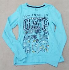 GAP KIDS Girls Mint Green Los Angeles Sequin Logo Long Sleeved T Shirt 12 Years