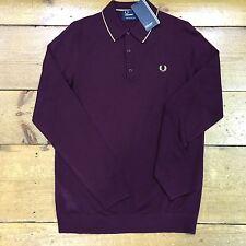 Fred Perry Fine Merino Knitted Shirt K9521 Mahogany - Mahogany