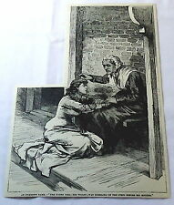 1886 magazine engraving ~ Young Woman Kneeling Before Older Woman