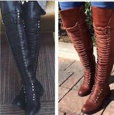 Women Lace Up Over The Knee High Boots Winter Pumps Moyorcycle Combat Shoe Brown