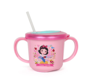 Disney Snow White Stainless Steel Non Slip Handle Easy Grip Straw Mug Cup 8.6oz