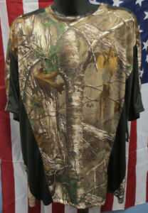 EARTHLETICS 2XL SHIRT CAMO CAMOUFLAGE REAL TREE MENS POLYESTER NEW HUNTING