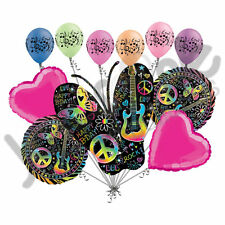 11 pc Neon Butterfly Happy Birthday to You Balloon Bouquet Graffiti Music Guitar