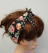 Self tie reversible headband retro headband pin up hair scarf rockabilly bandana