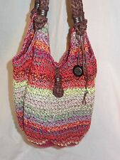 THE SAK WOVEN MULTI COLOR LARGE BUCKET TOTE BAG BRAIDED STRAPS FUN SUMMER BAG!