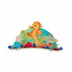 "Hess 30306 Children's Wardrobe "" Seahorses "" 5 Hook 36 CM Erzgebirge Wood New !#"
