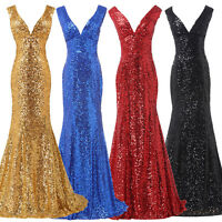 Sequins Mermaid Ball Long Dress Formal Evening Party Prom Gown Bridesmaid Ladies