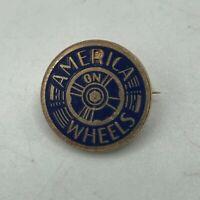 Vtg AMERICA ON WHEELS Roller Skating Lapel pin Gold Tone + Light Blue Enamel M6