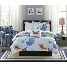 FULL 8 Pc PIRATE BEDDING SET Boys Girls Blue White Ship Boat Comforter Sheet NEW